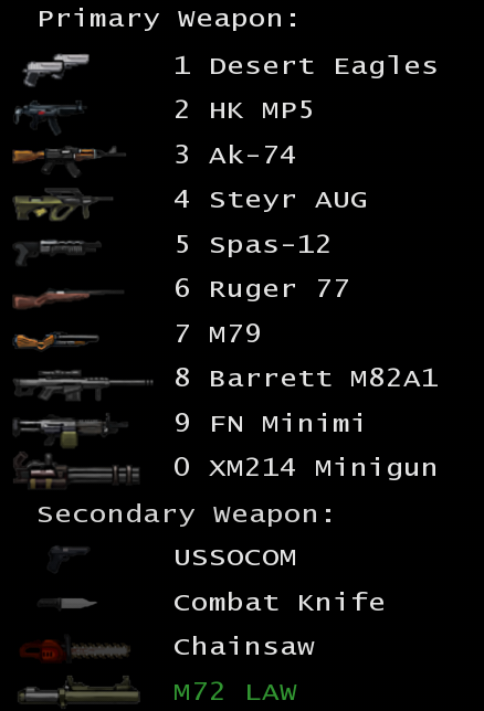 Weapons Selection Menu (In-game)